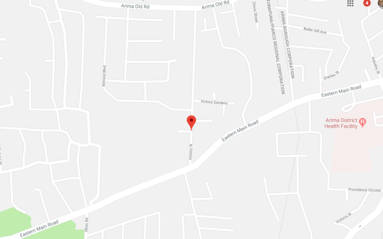 Map of victory street in Arima, Trinidad